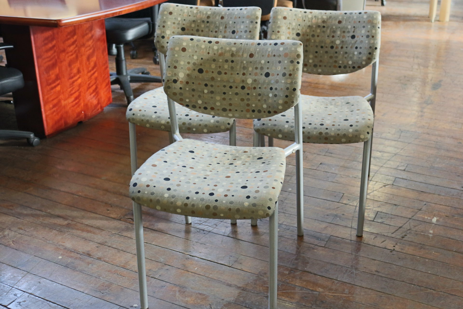Keilhauer Gray and Brown Dot Side Chairs (Used)