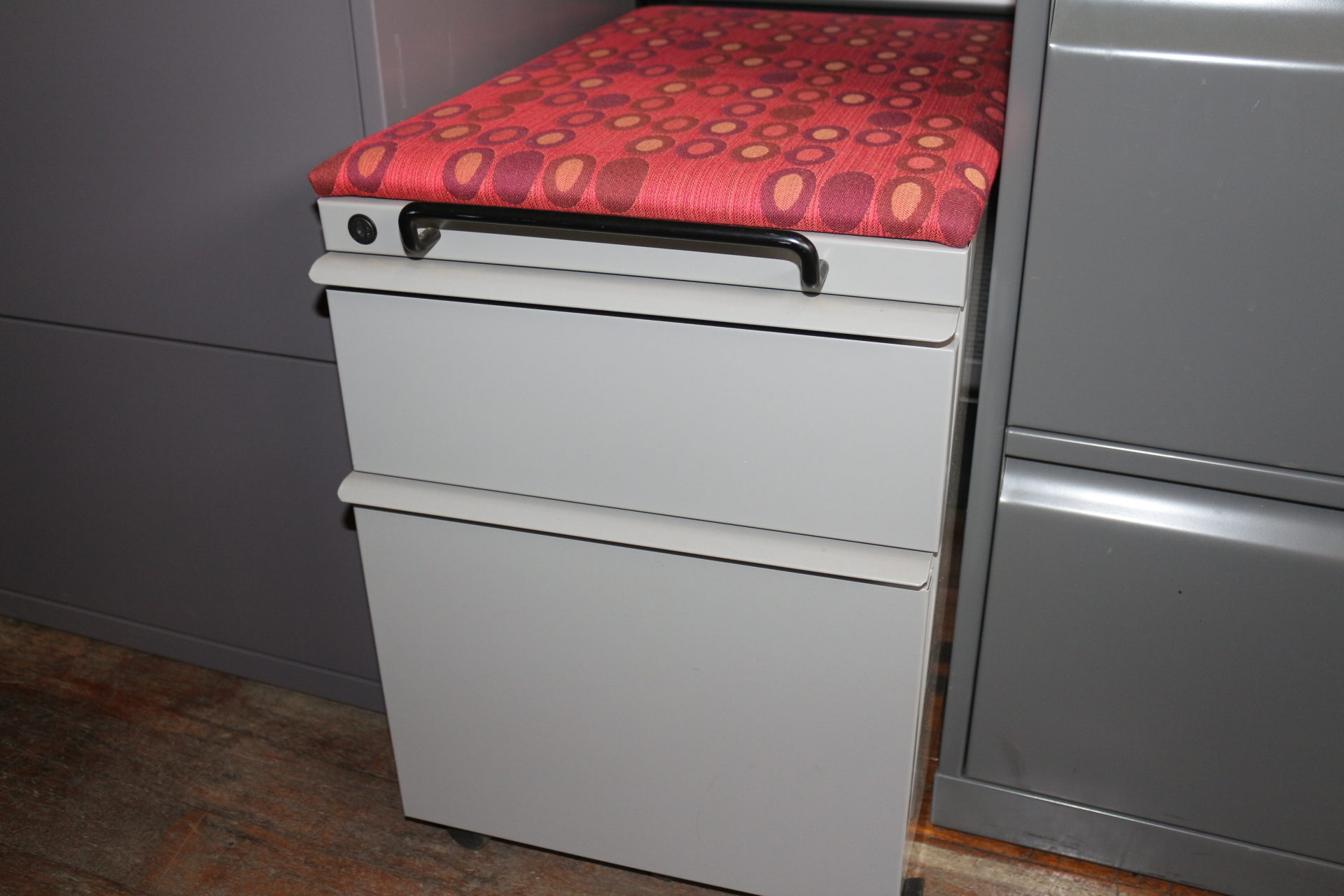Knoll 2 Drawer Mobile Pedestal File Cabinet with Red Cushion
