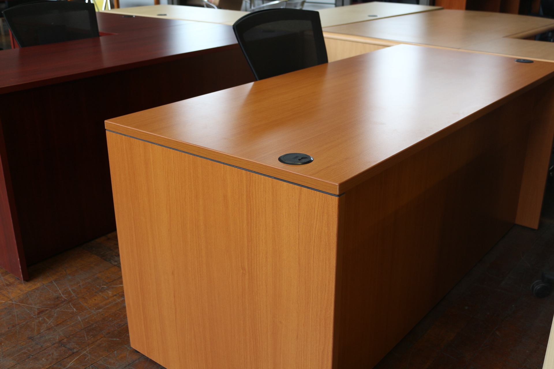 New Amber 30″ x 66″ Laminate Desk with Double Pedestal Locking File Cabinets and Wire Grommets