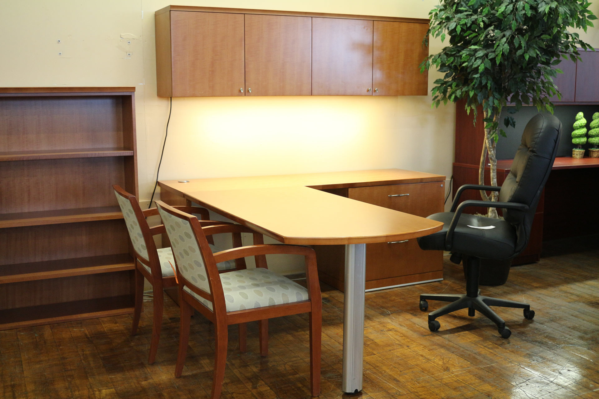 Used Bernhardt Anigre L-Desk with Overhead Storage
