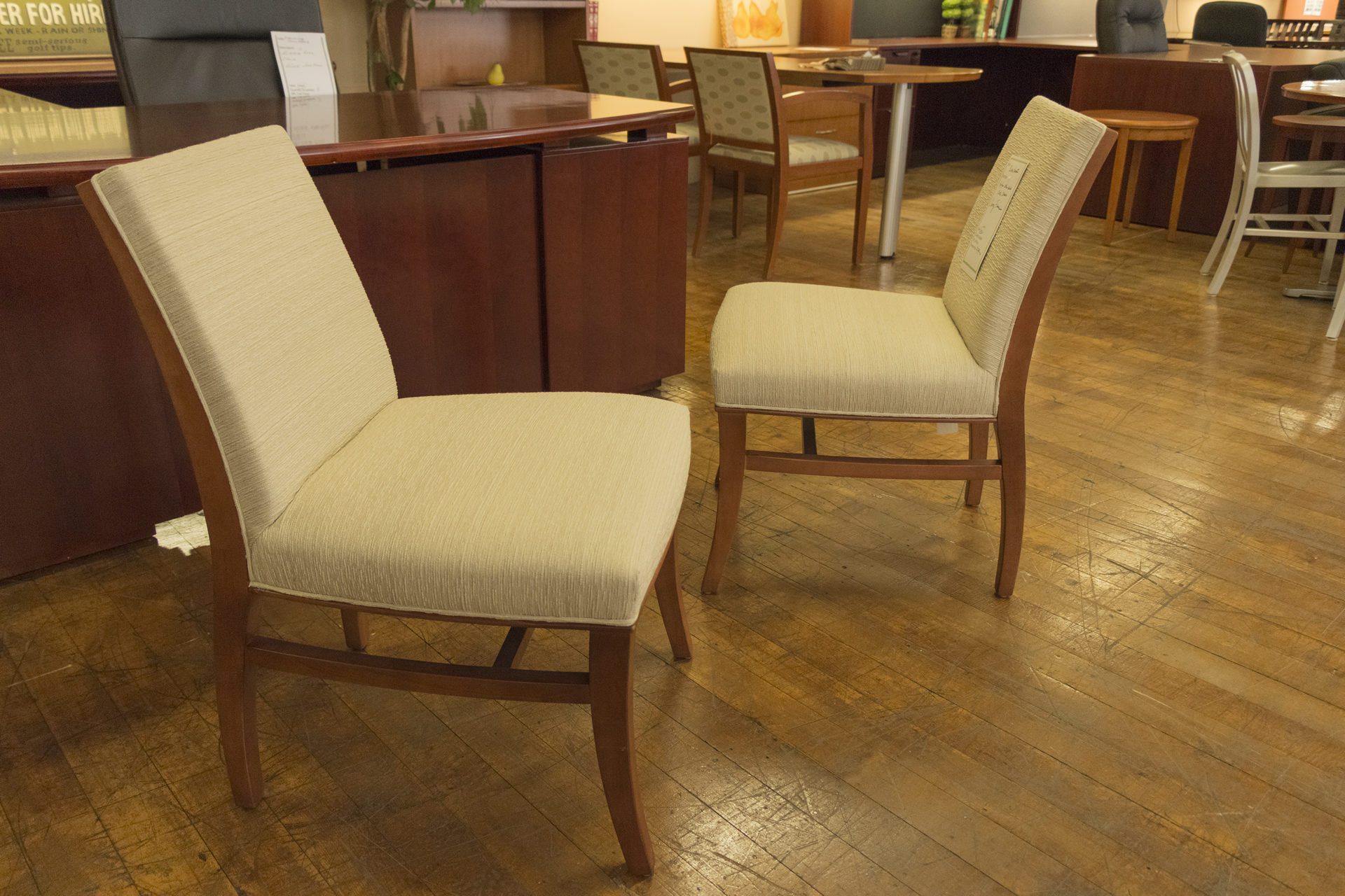 Bernhardt Haitian Cotton Side Chairs with Cherry Frame