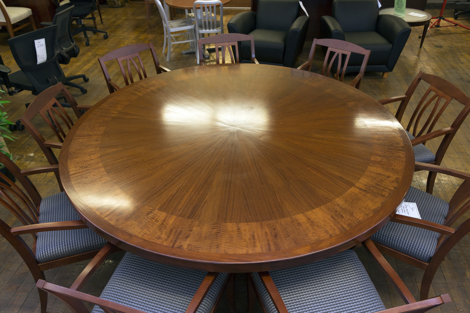 Custom One Off Mahogany Round 7 Diameter Conference Table