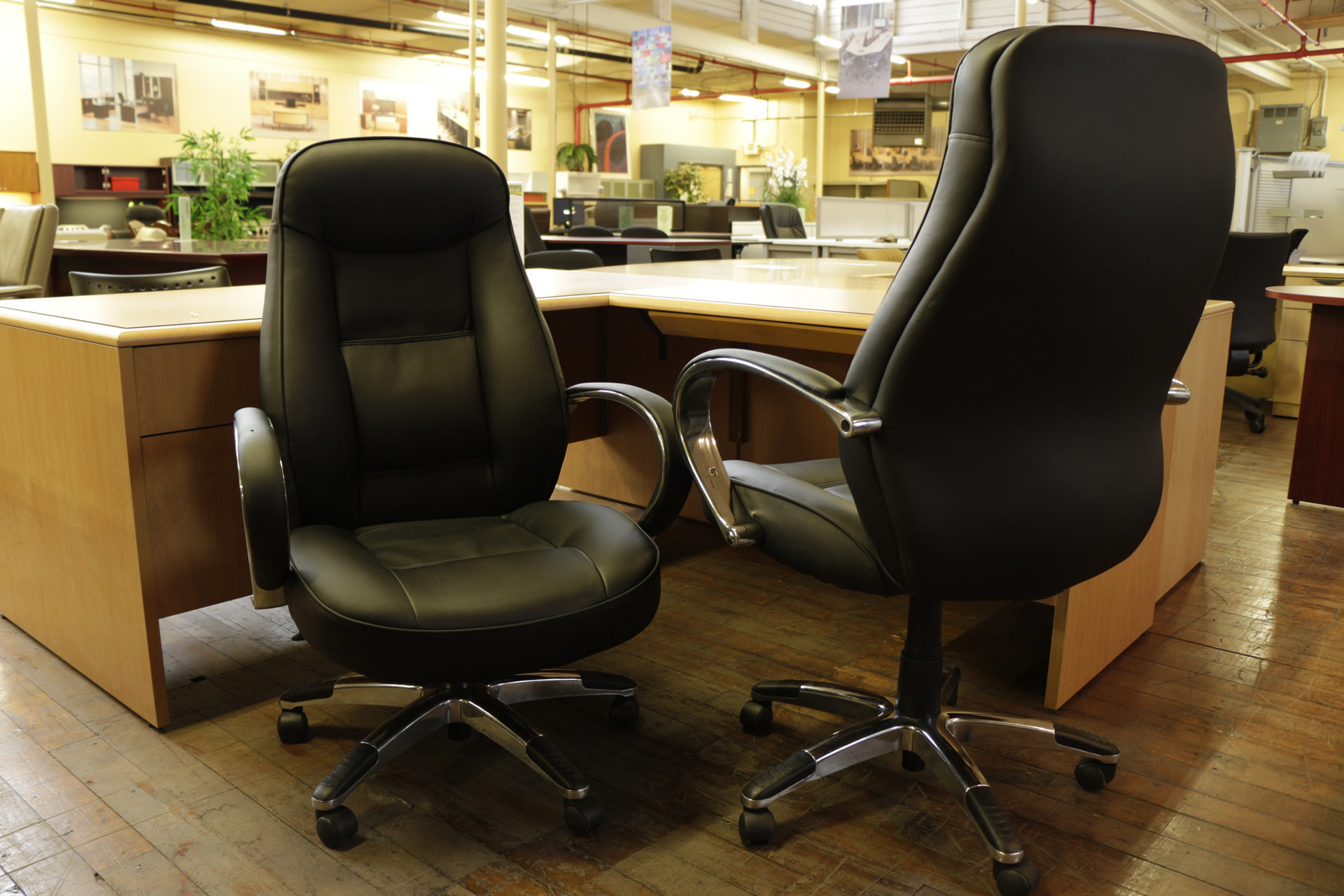 Used Black Faux Leather High Back Executive / Conference Chairs