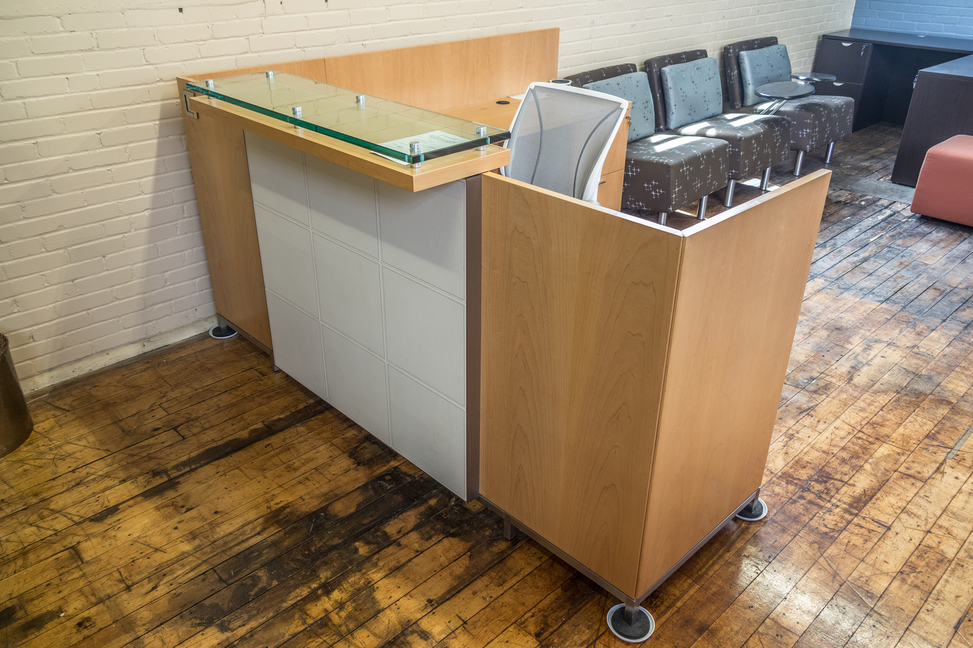 Glass conference table for sale - Tuohy Geneva 8 5 X 7 Natural Maple Reception Desks With Leather Features Glass Transaction Counter