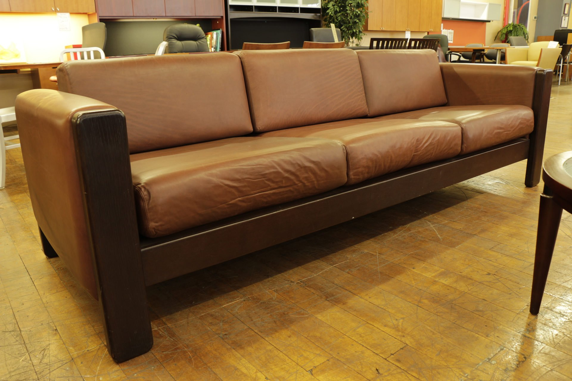Knoll Jim Eldon Mid-Century Modern Chocolate Leather Sofa ...