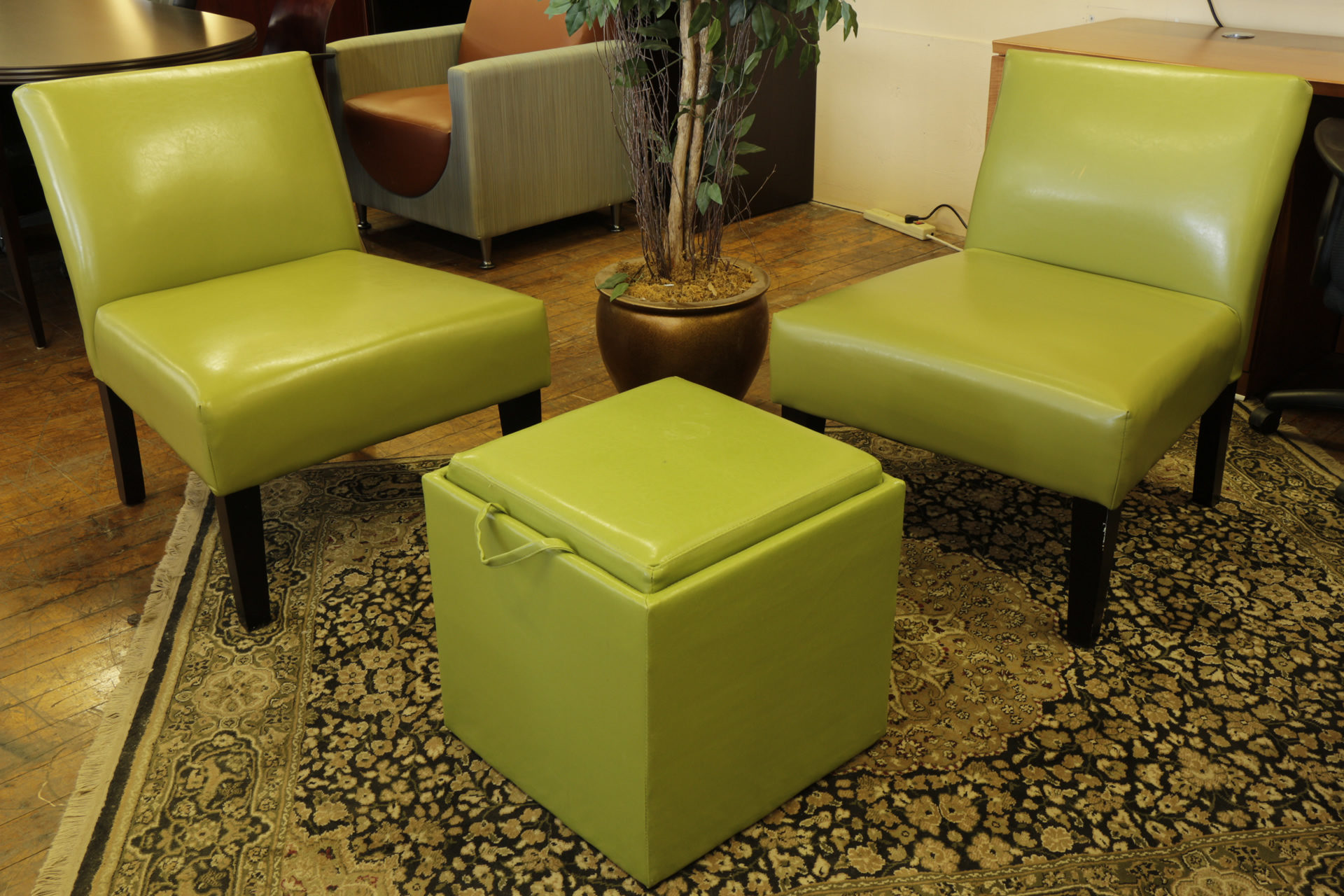 Green Leather Club Chairs