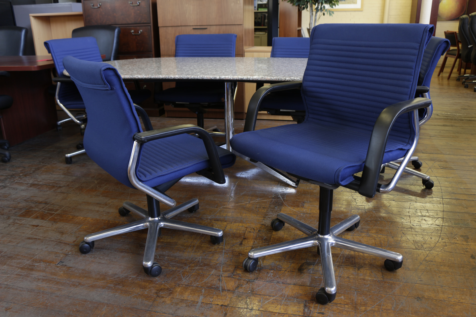 Blue Vecta Conference Chairs With Chrome Frame (Used)