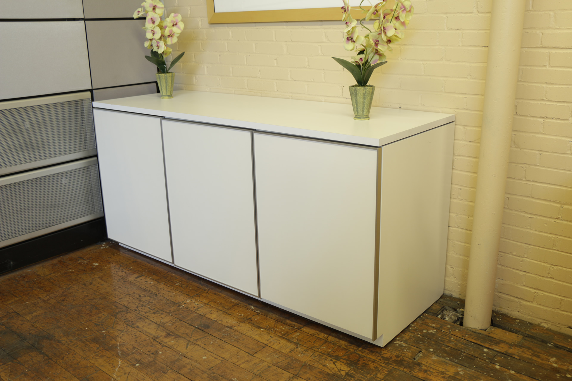 White Neinkamper 3 Door Credenza with Metallic Trim