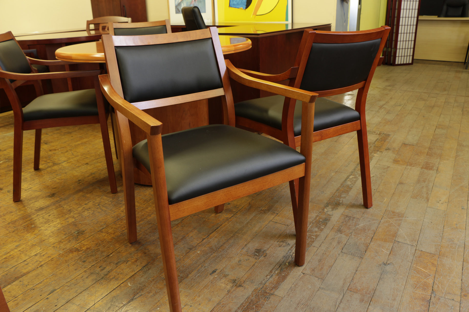 Cherry Frame SIde Chairs with Black Leatherette Seat