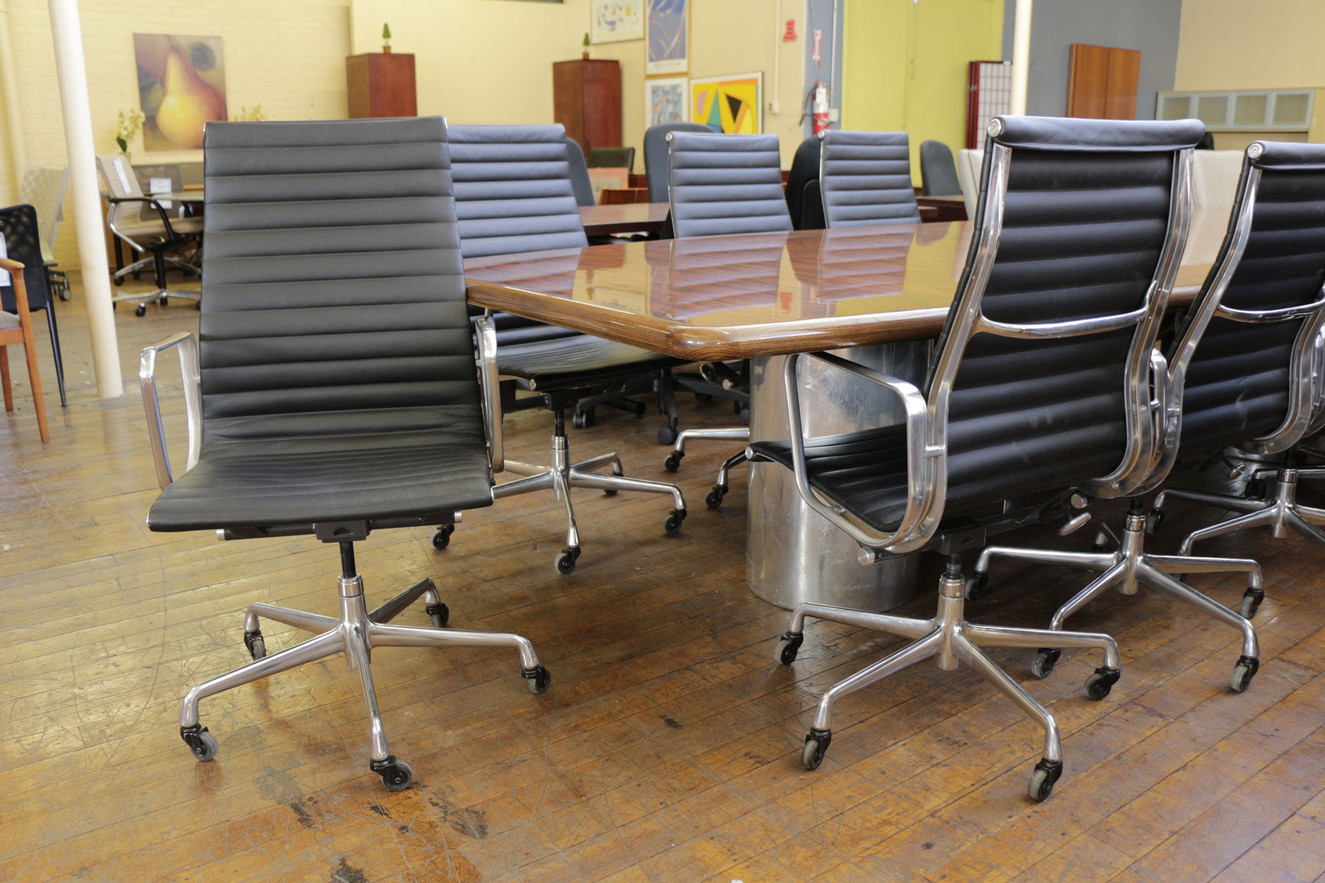 Eames Aluminum Group Black High-Back Leather Executive Chairs