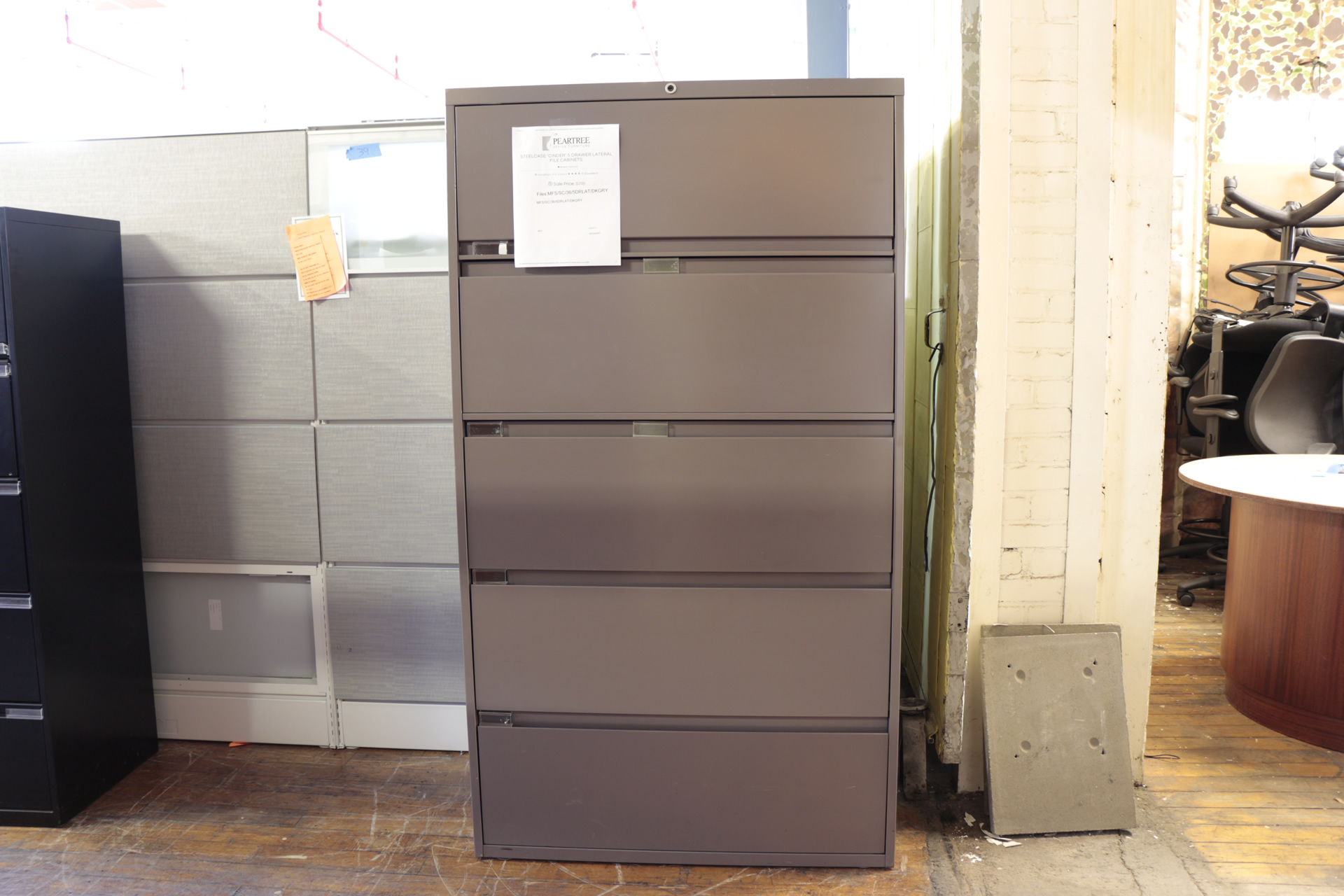 Steelcase 5 Drawer Cinder Lateral File Cabinet