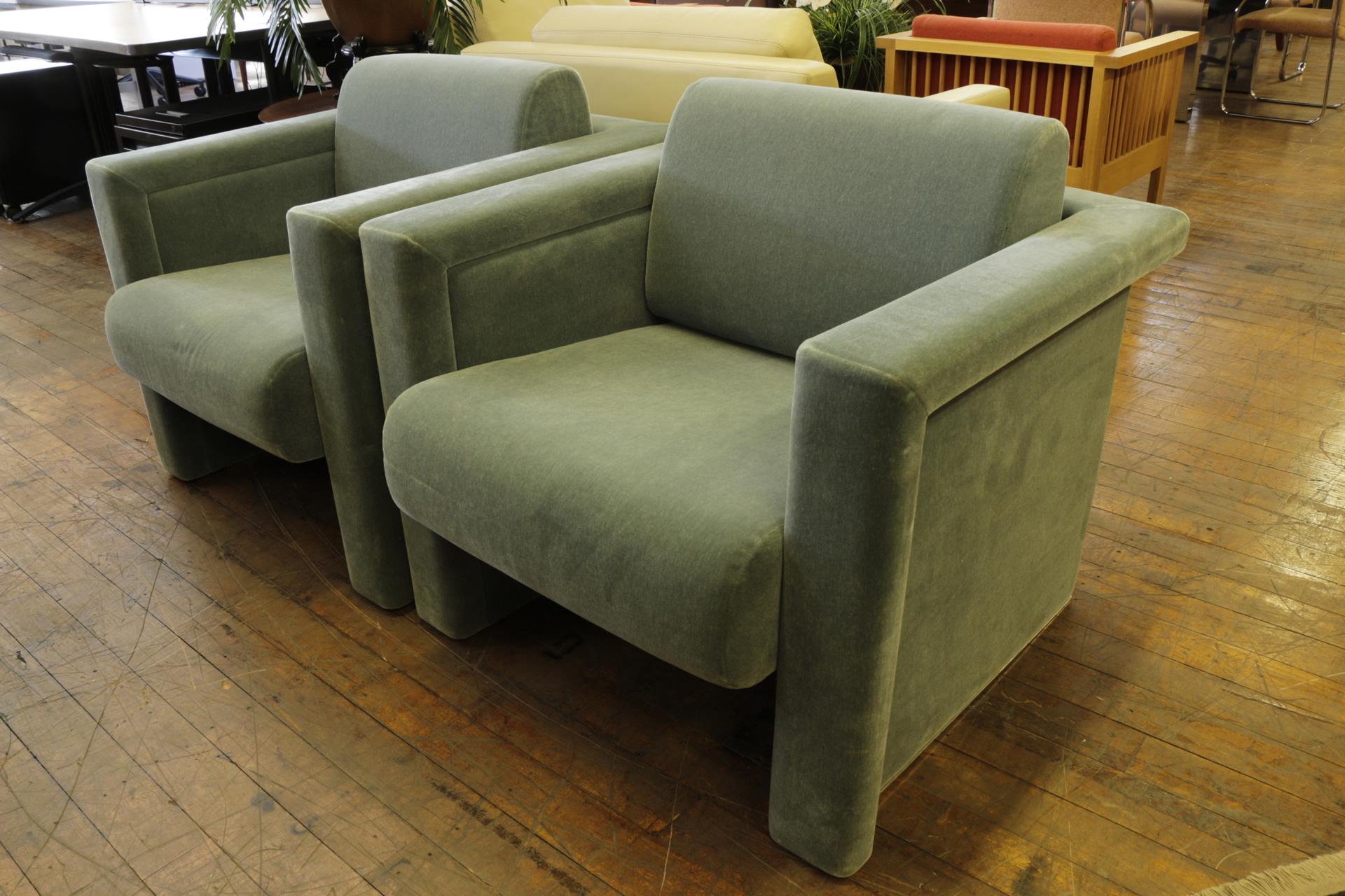 Knoll Cube Velvet Club Chairs