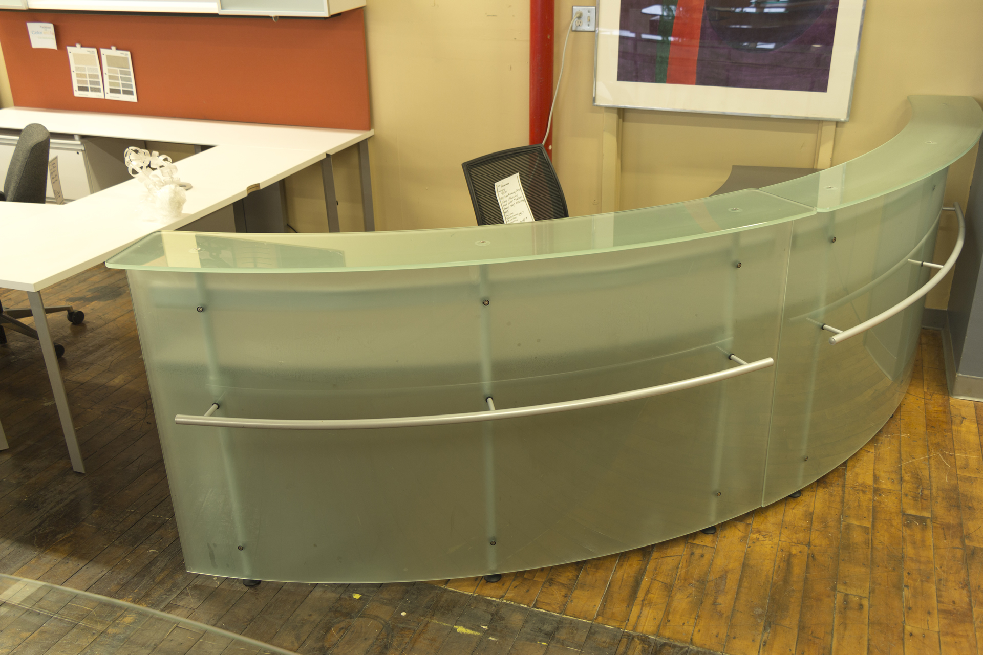 Frosted Glass Arc Reception Desk