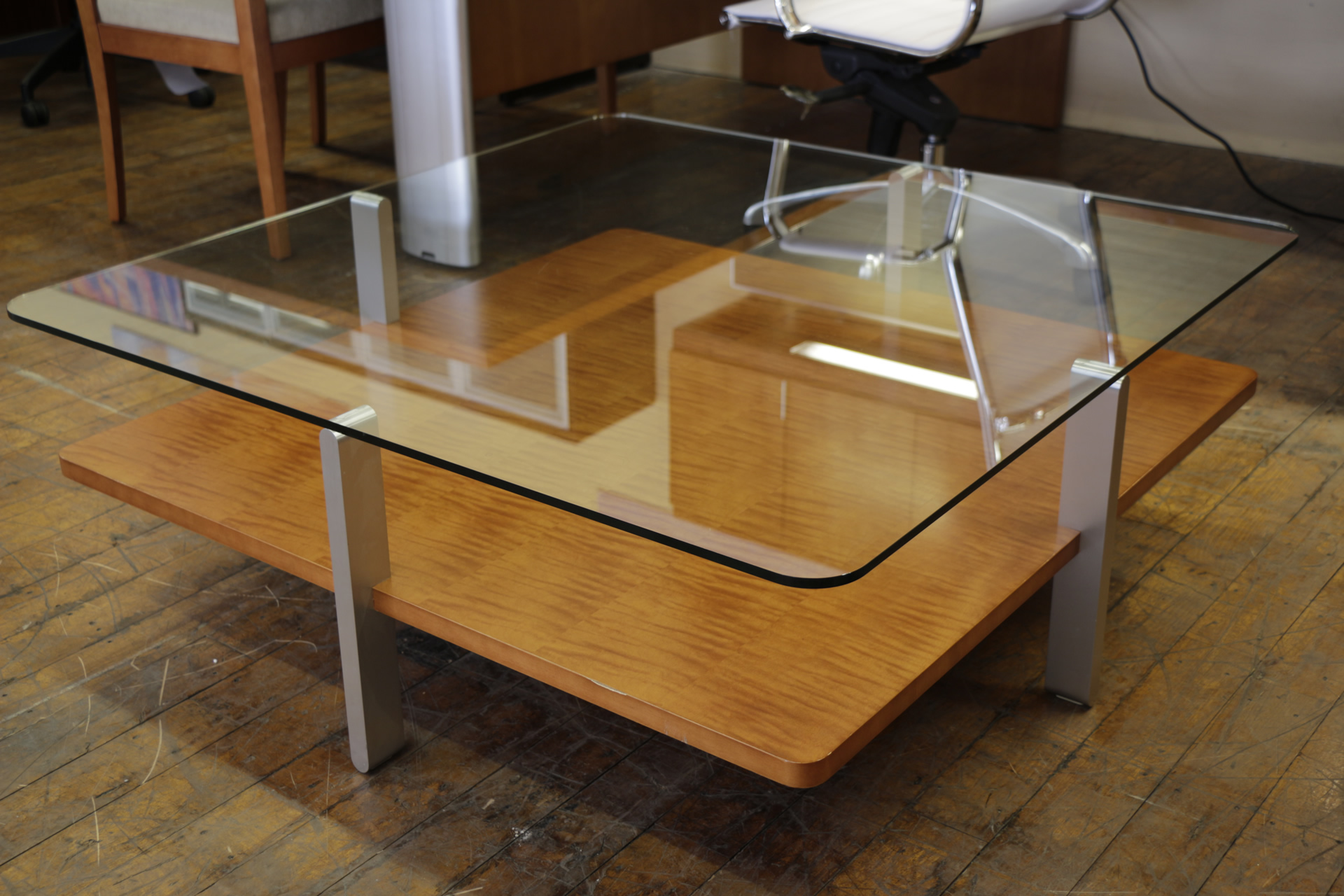 Bernhardt Anigre and Glass Square Coffee Tables