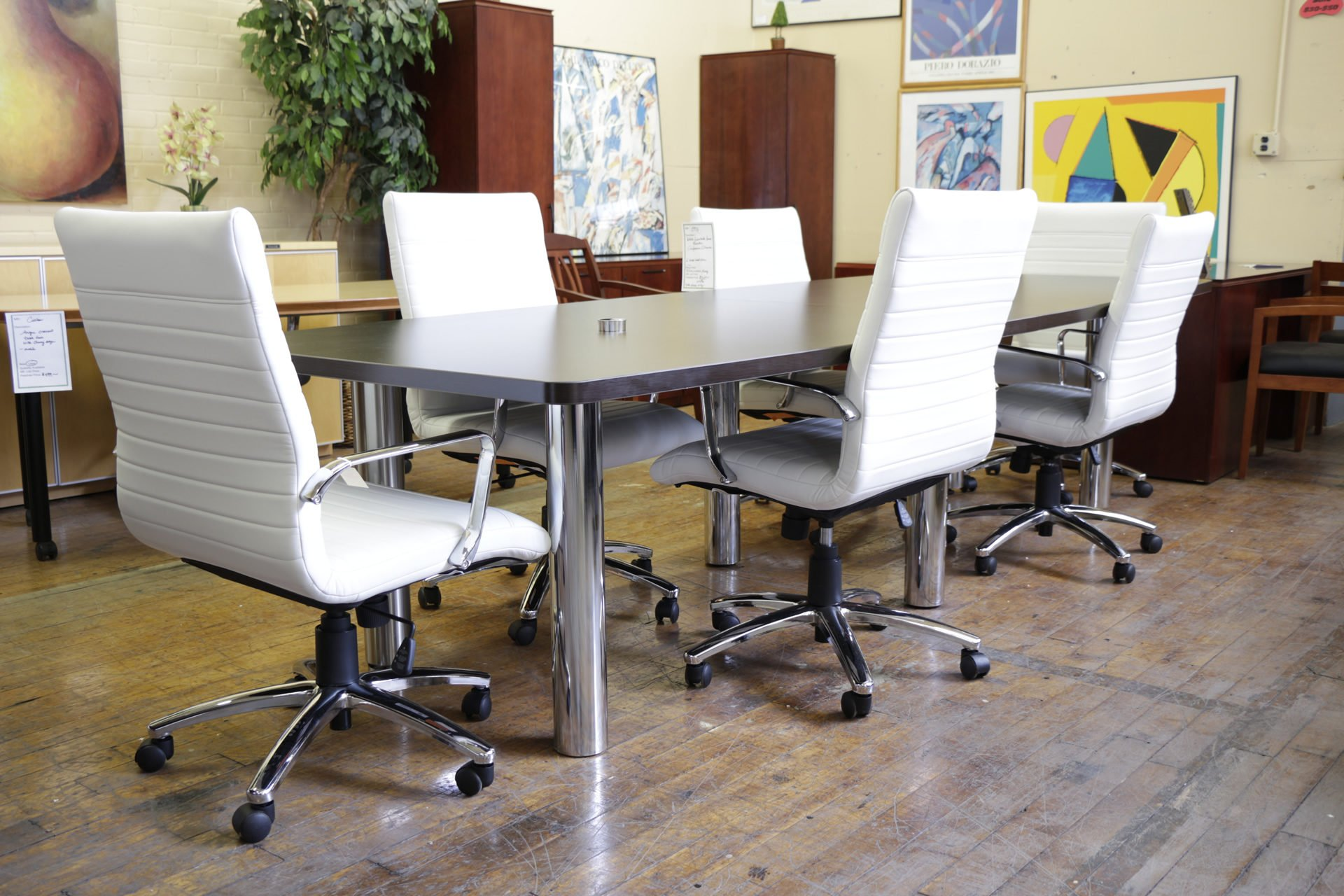 10′ Laminate Boat Shaped Espresso Conference Table with Chrome Legs
