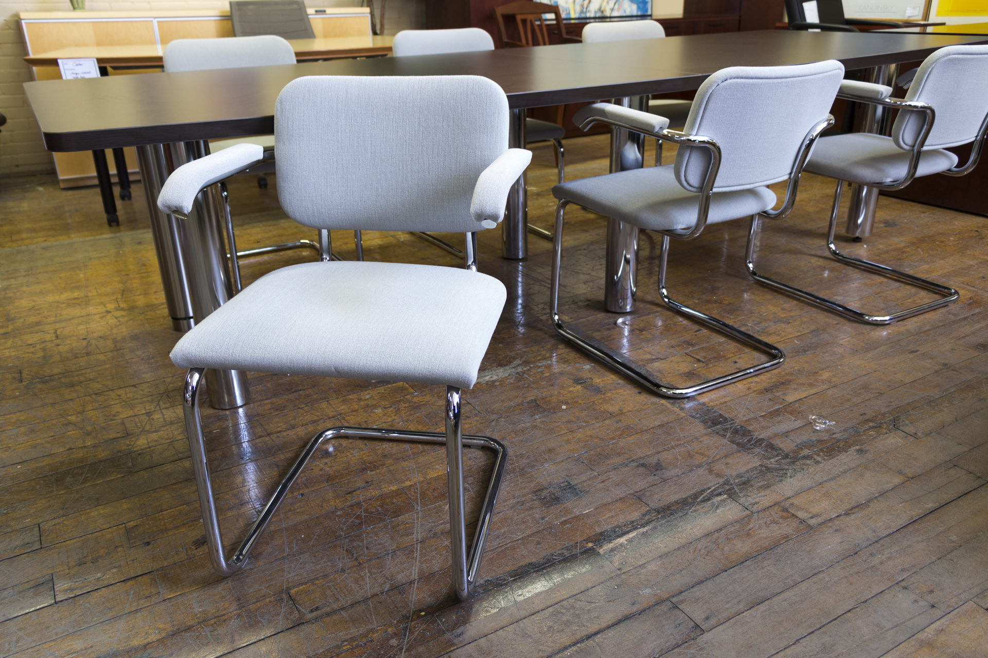 Knoll 'Breuer' Cantilevered Gray & Chrome Frame Side Chairs