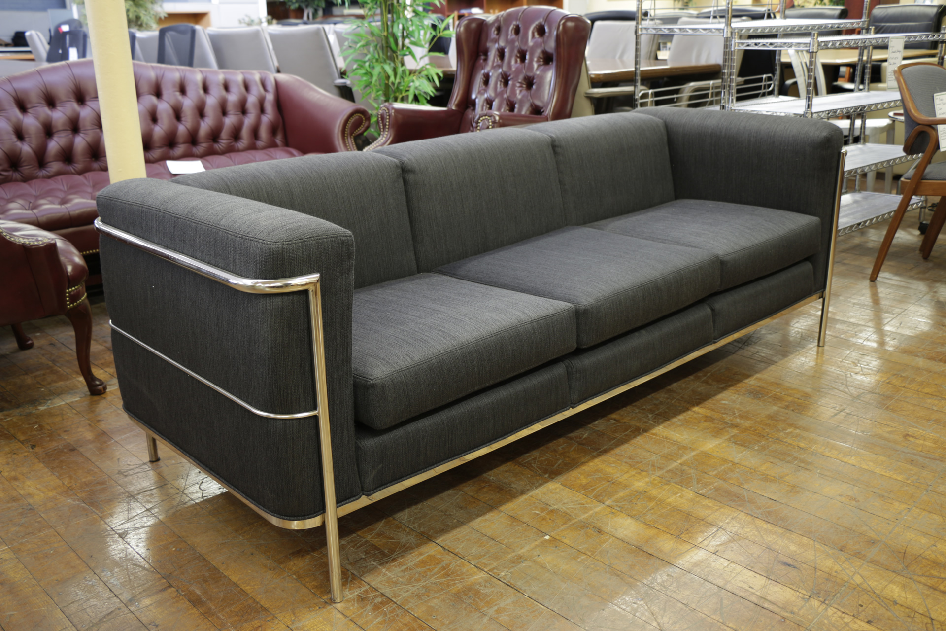 Jack Cartwright Black Fabric & Chrome 3-Seat Sofas