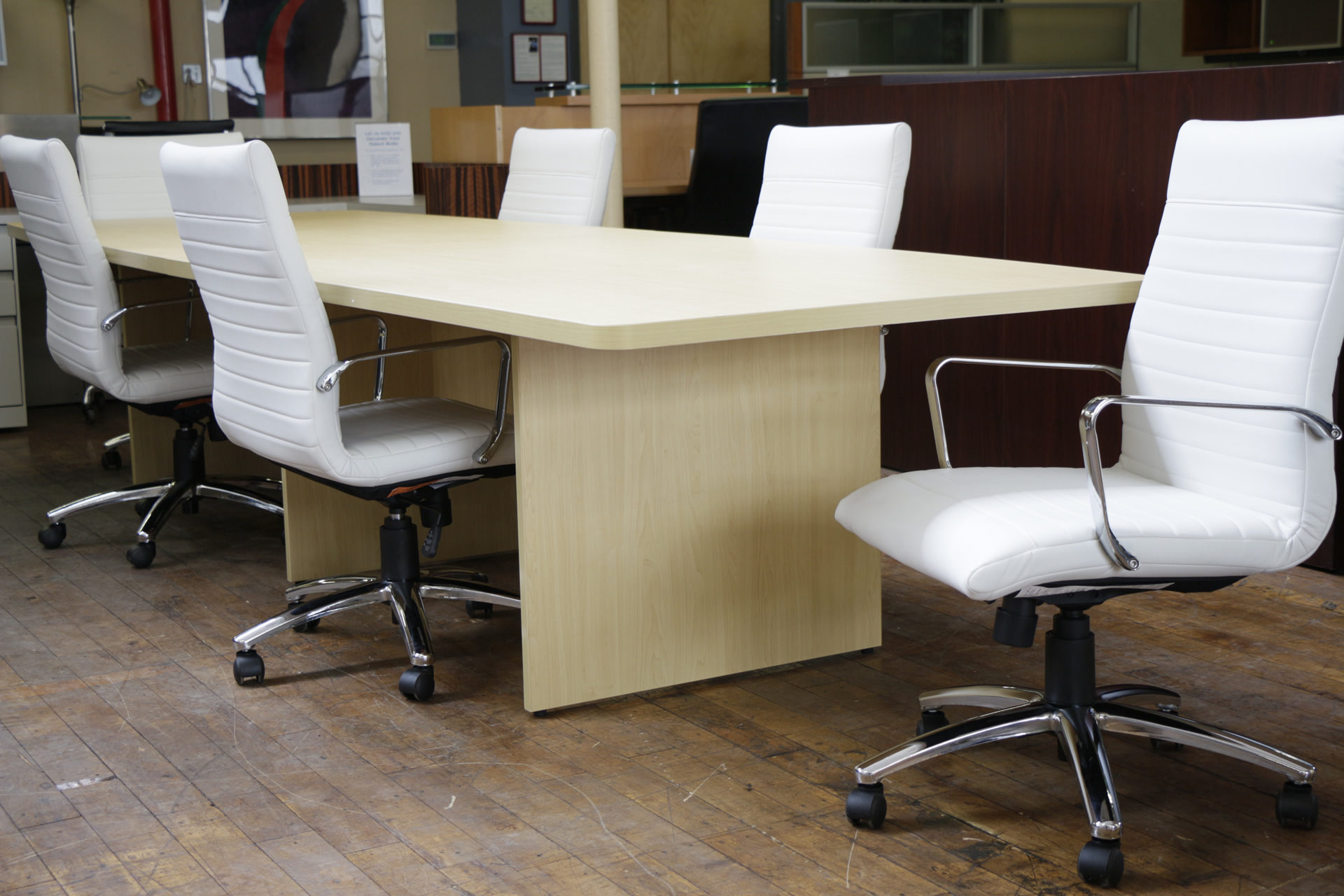New 12′ Maple Laminate Boat-shaped Conference Table