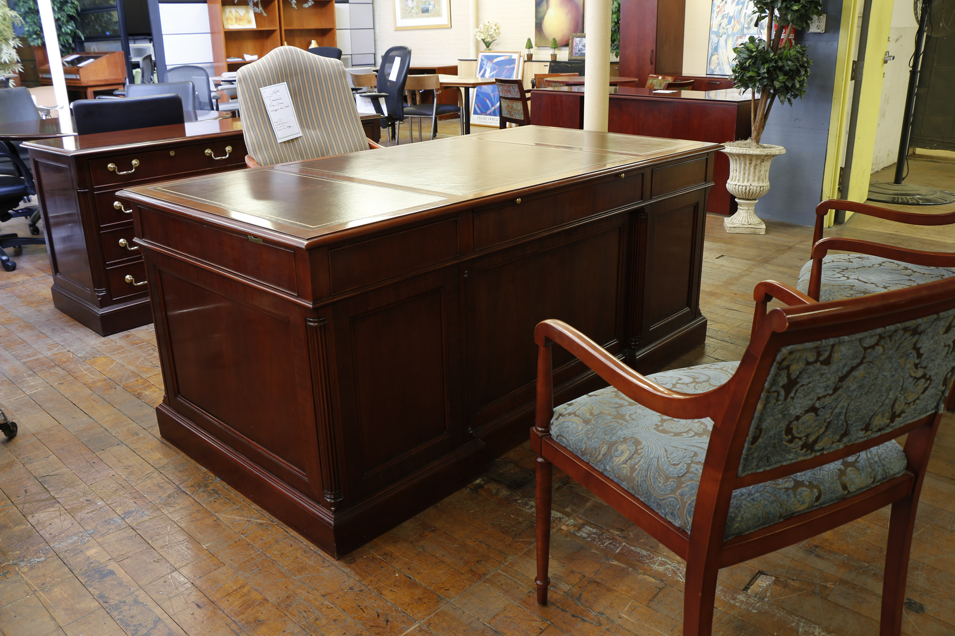 Councill George III Mahogany Executive Desk & Credenza Suite