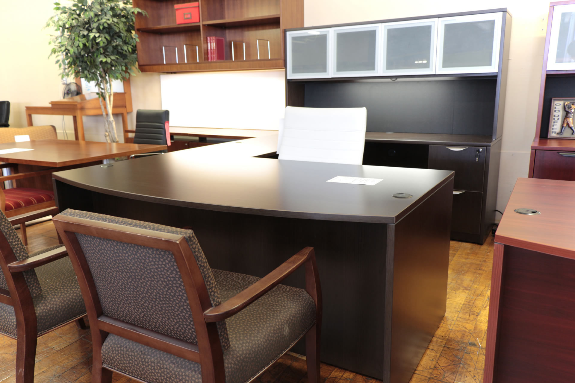 Warren Series New U-Shaped Espresso Laminate Bow-Front Desk with Hutch and Glass Doors