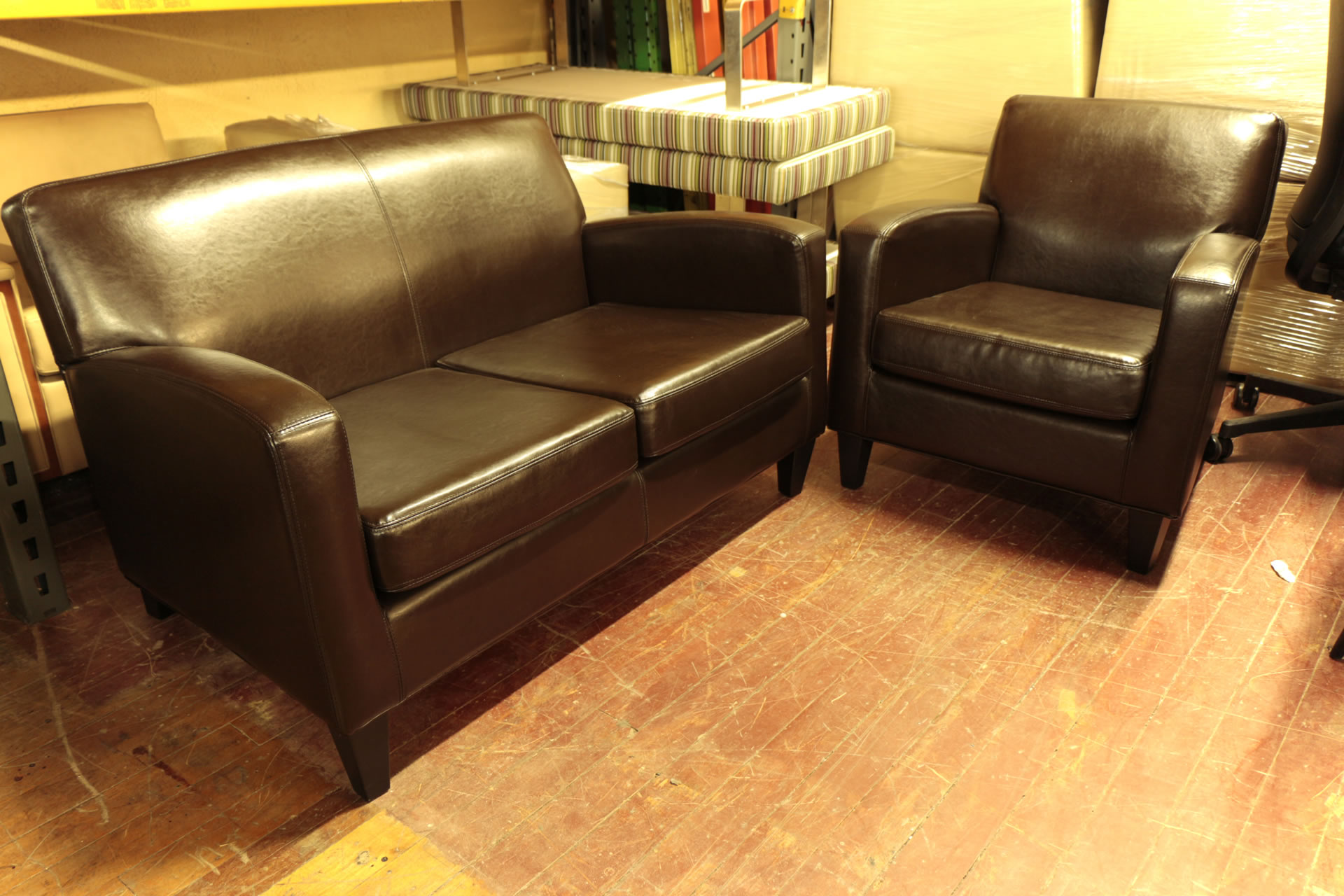 Ikea Brown Leather Sofa & Love Seat Set