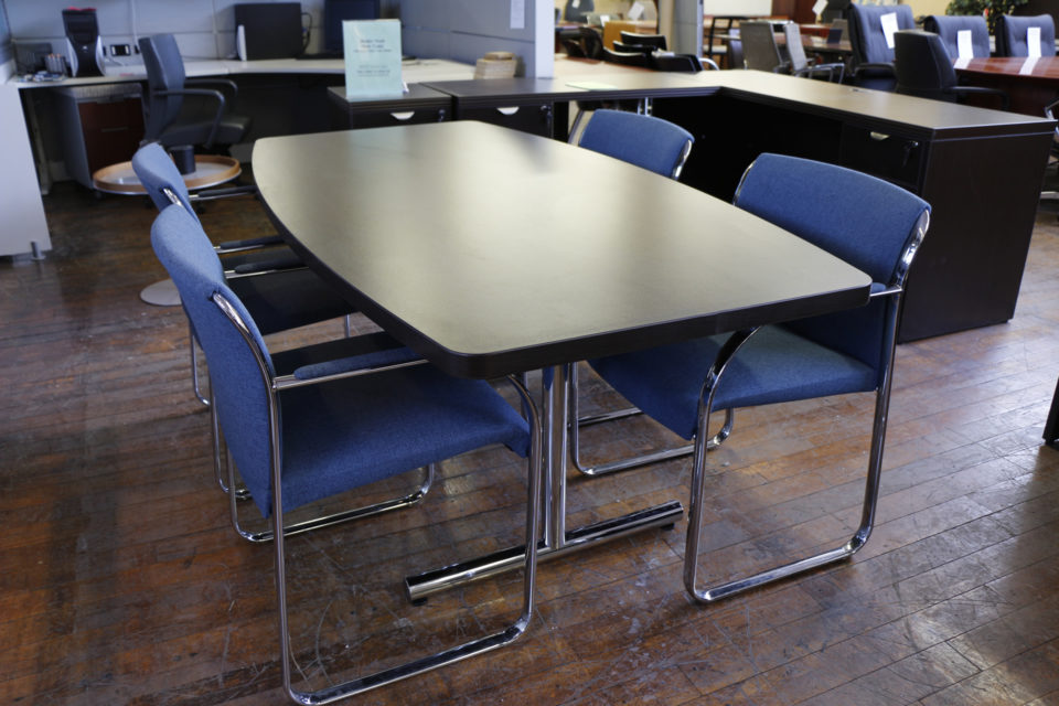 Warren Series 6' Boat Shaped Espresso Conference Table with Chrome Legs