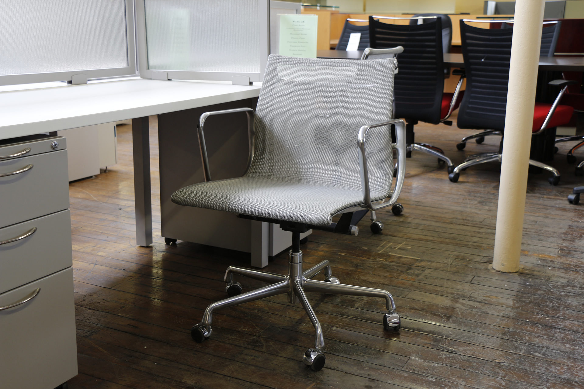 Silver Mesh Eames Aluminum Management Chair by Herman Miller