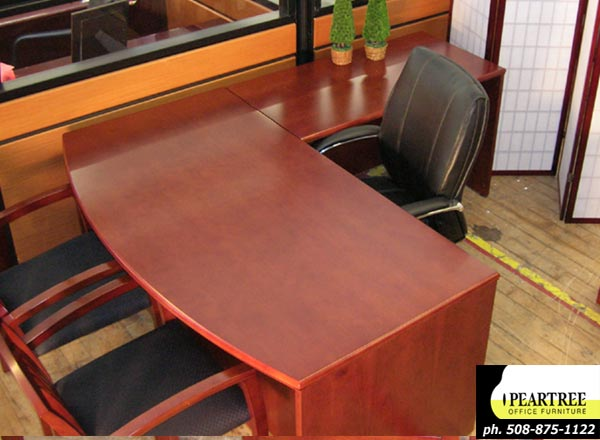 Baldwin Series Cherry Wood New Bowfront Executive L-shaped Desk