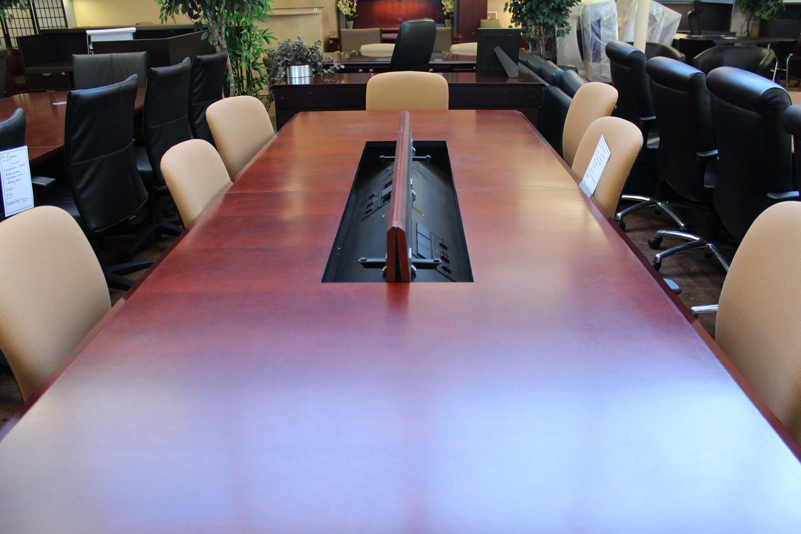 Custom 10′ Dark Cherry Conference Table With Electric Data Forum
