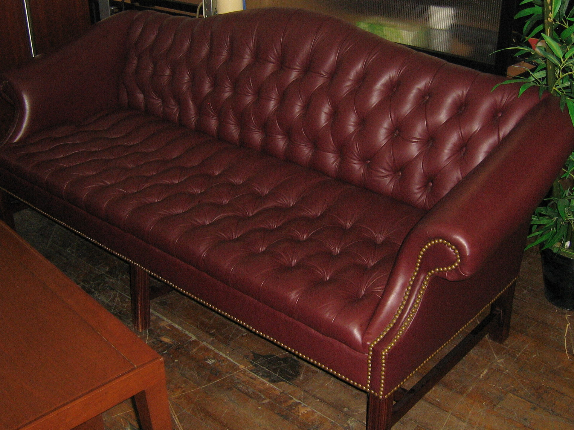 Burgundy Tufted Sofa