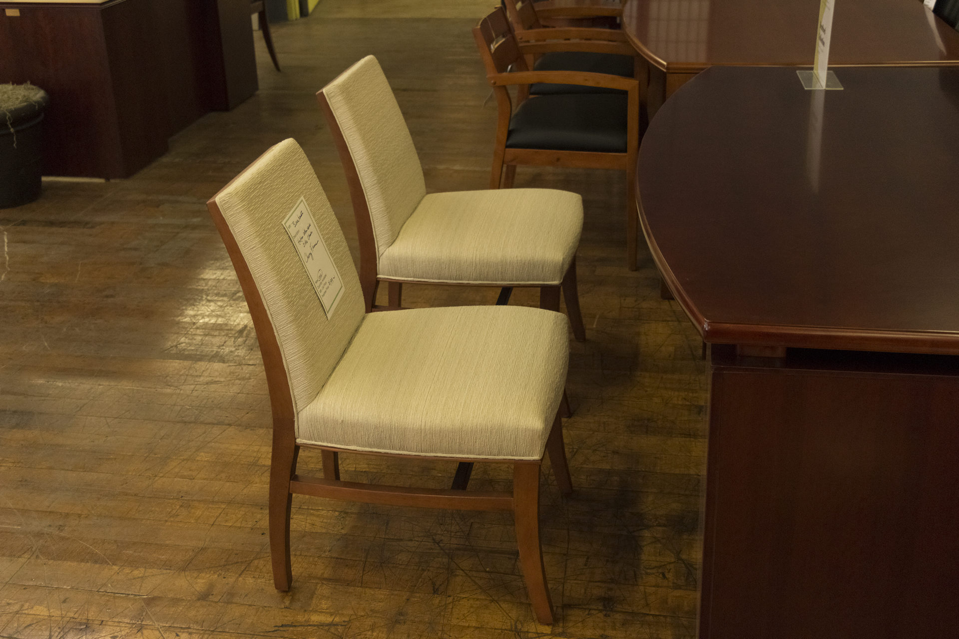 Bernhardt St. Michel Haitian Cotton Side Chairs with Cherry Frame