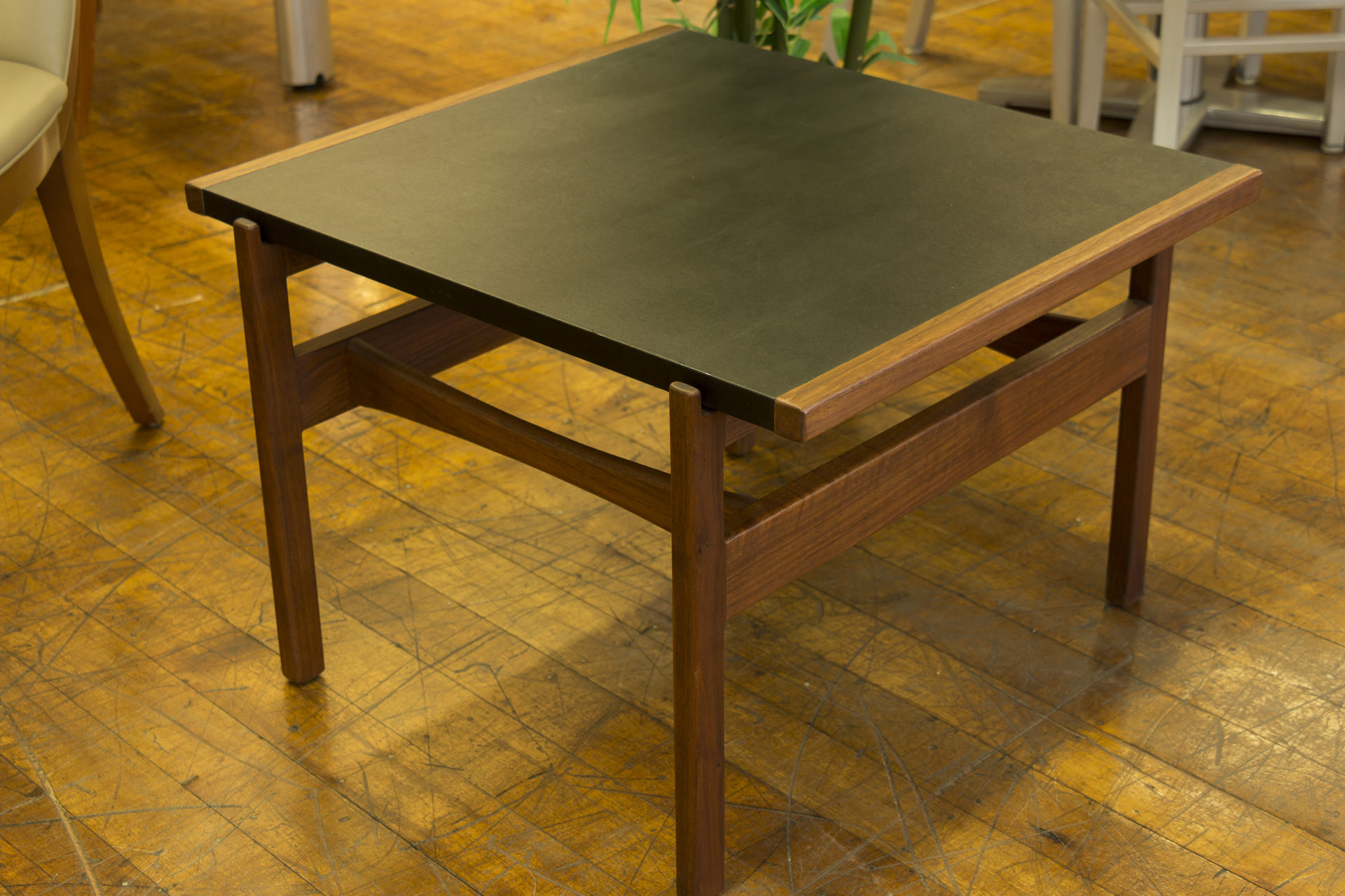 Jens Risom Walnut & Black Leather Occasional Table