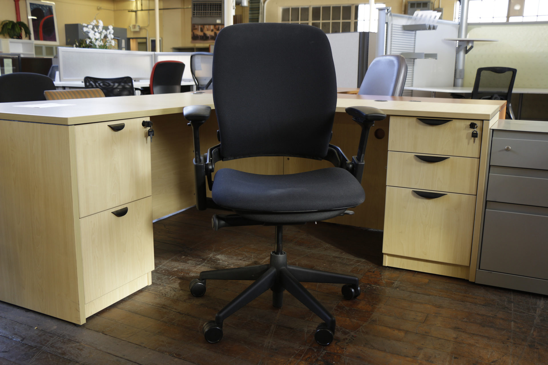 Steelcase Leap Chairs in Black Fabric