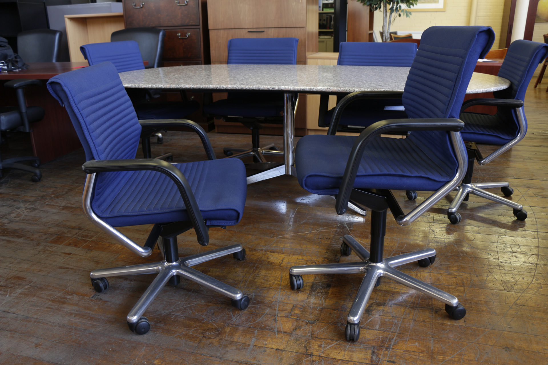 Blue Vecta Conference Chairs With Chrome Frame