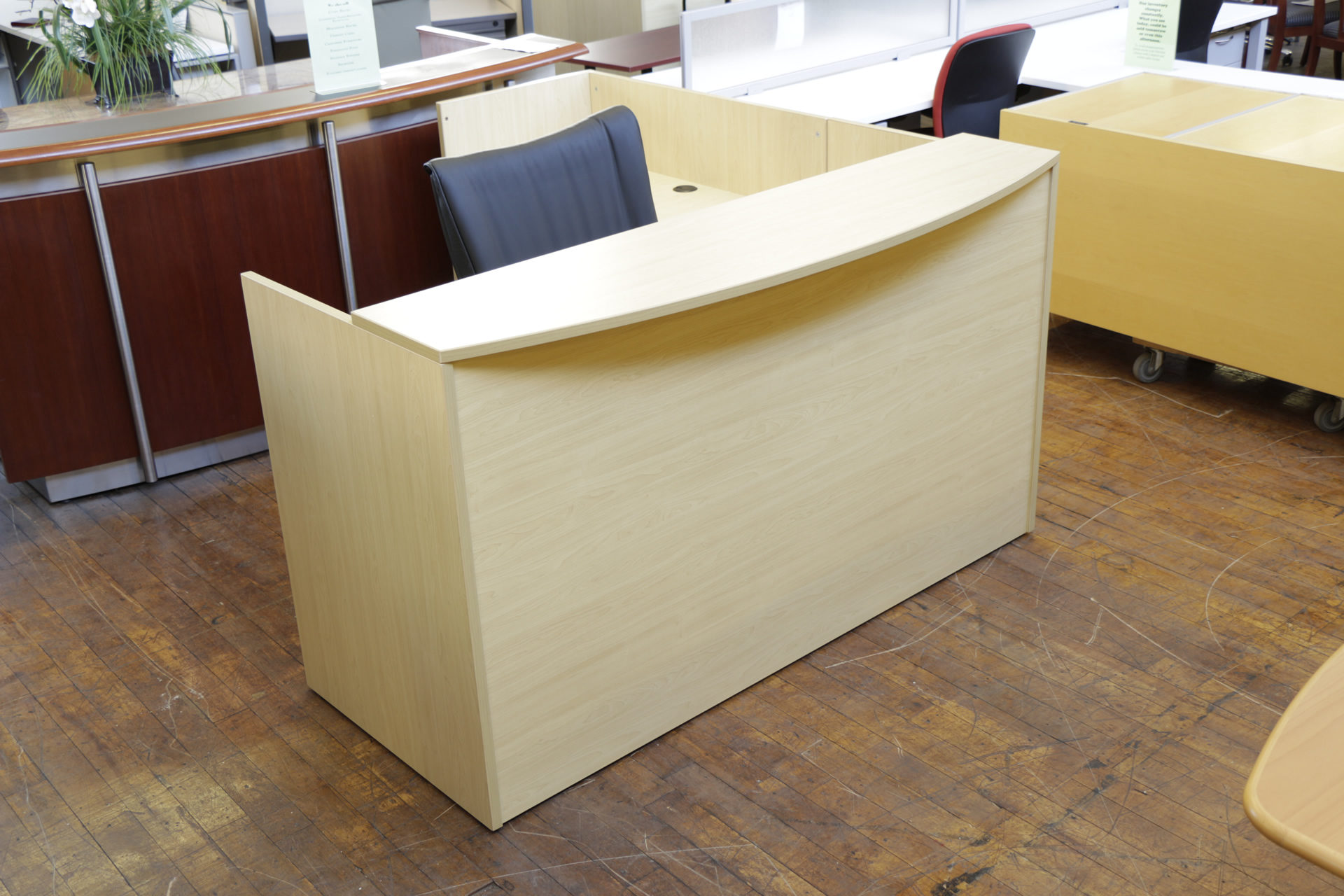 New Warren Series Maple Laminate Bowfront L-Shaped Reception Desks