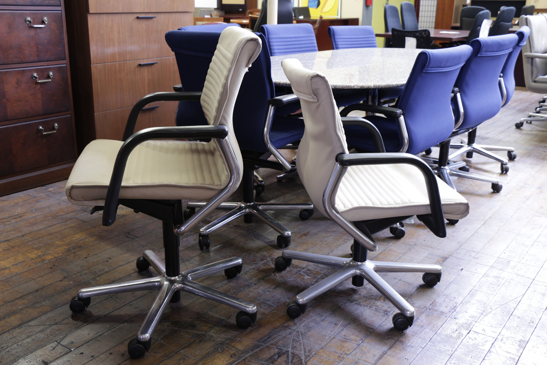 Beige Vecta Conference Chairs With Chrome Frame
