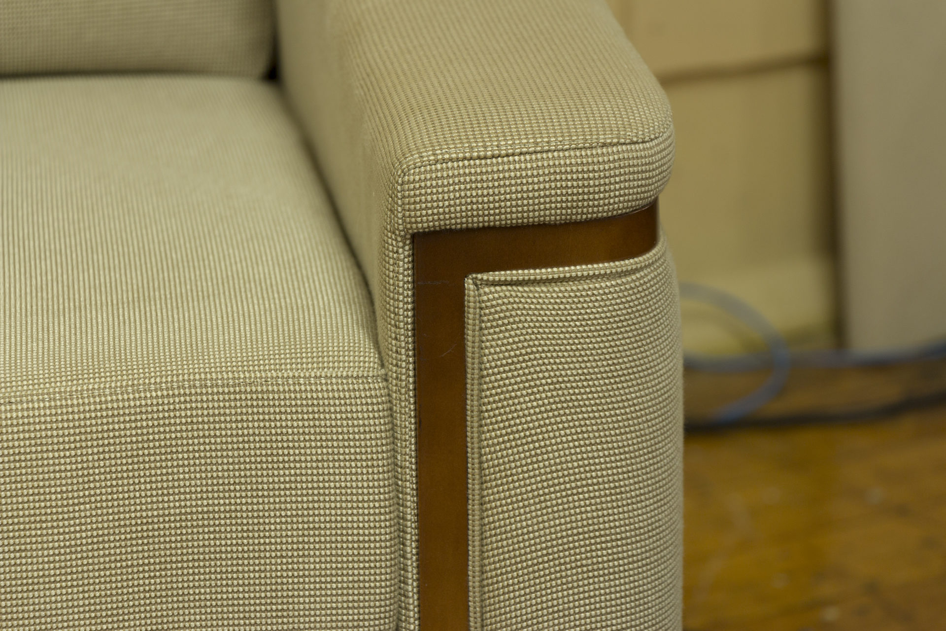 Bernhardt Beige Pattern Fabric Club Chairs