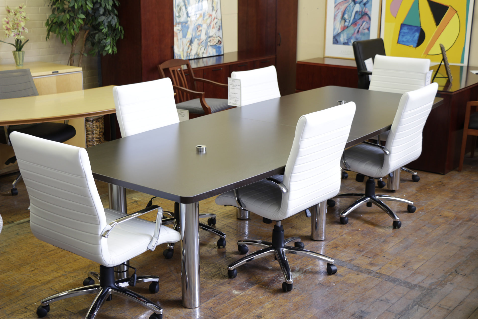 12′ Laminate Boat Shaped Espresso Conference Table with Chrome Legs