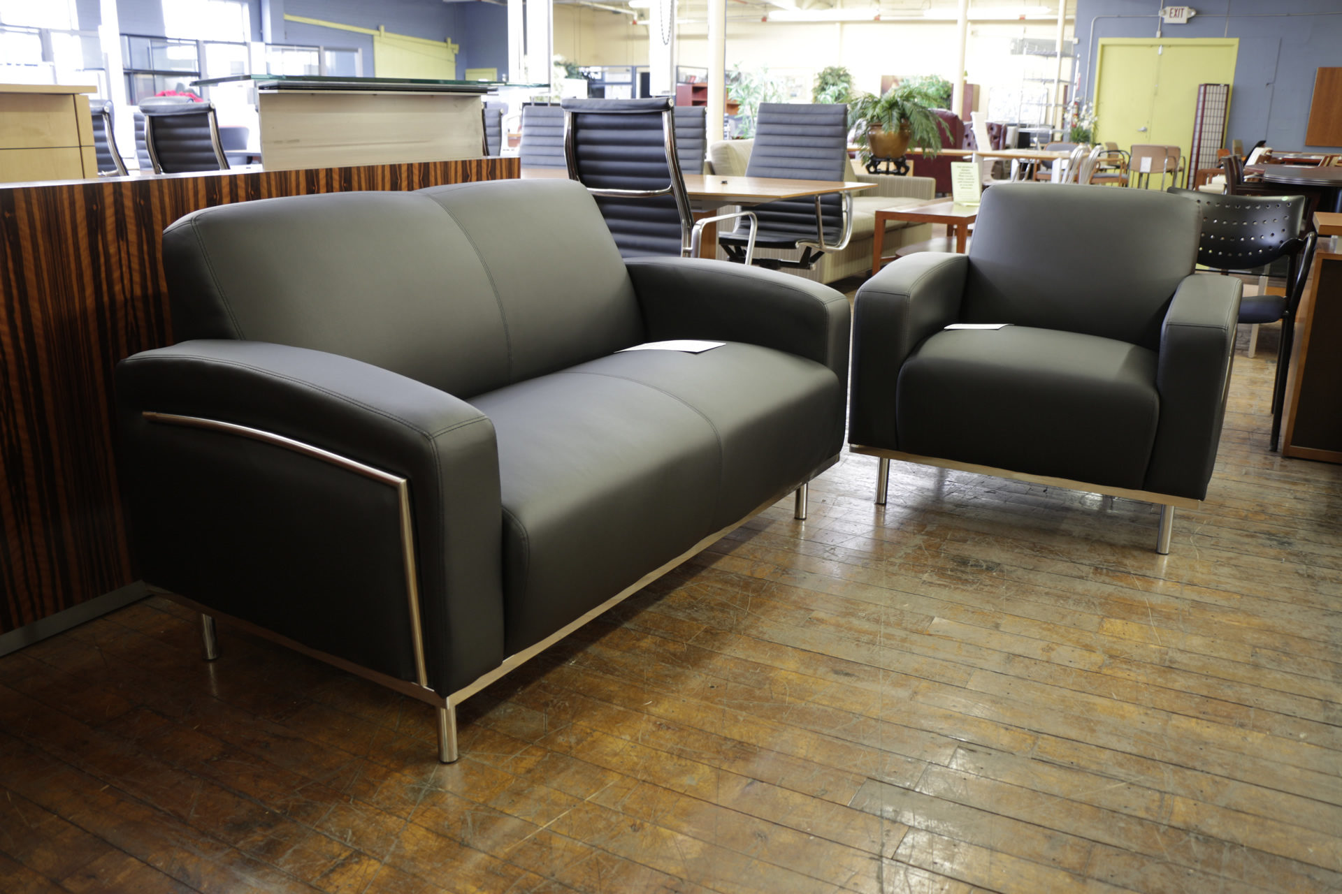 Chelsea Black Leatherette & Chrome Club Chairs