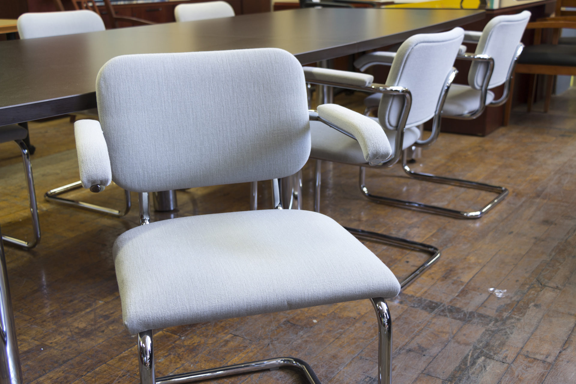 Knoll 'Cesca' Cantilevered Gray & Chrome Frame Side Chairs
