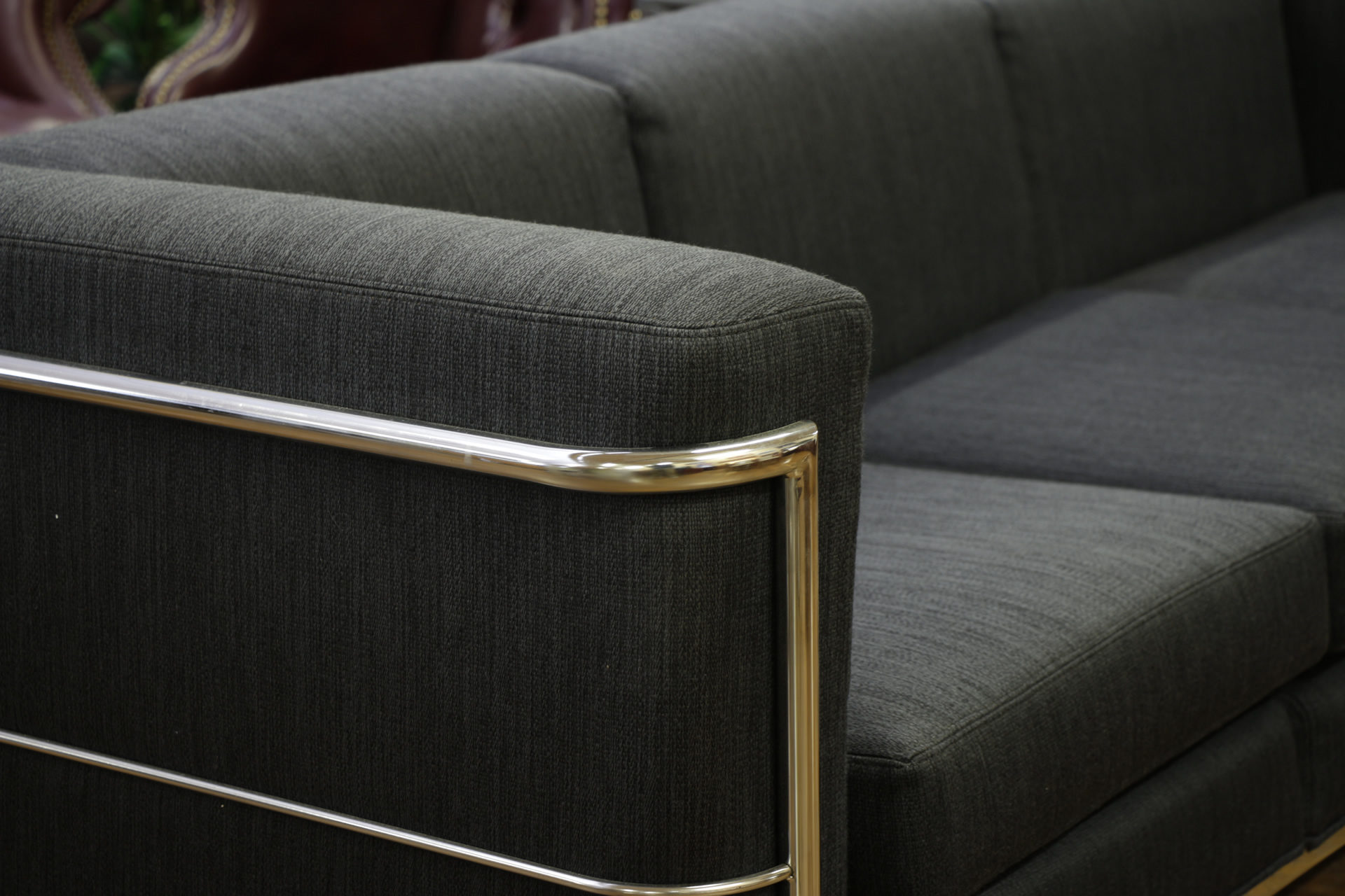 Jack Cartwright '123' Black Fabric & Chrome 3-Seat Sofas