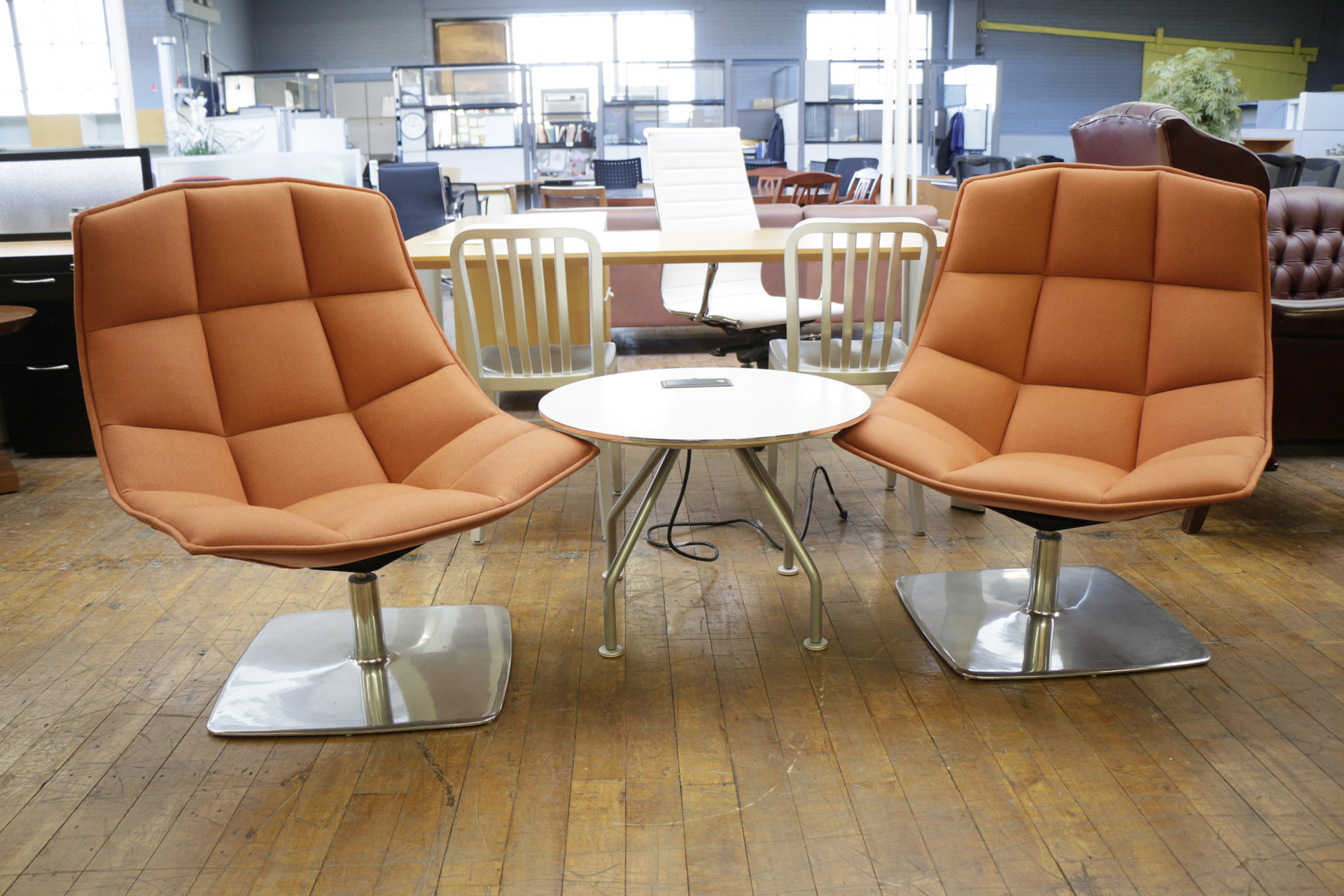 Knoll Jehs and Laub Lounge Chairs with Chrome Pedestal Base