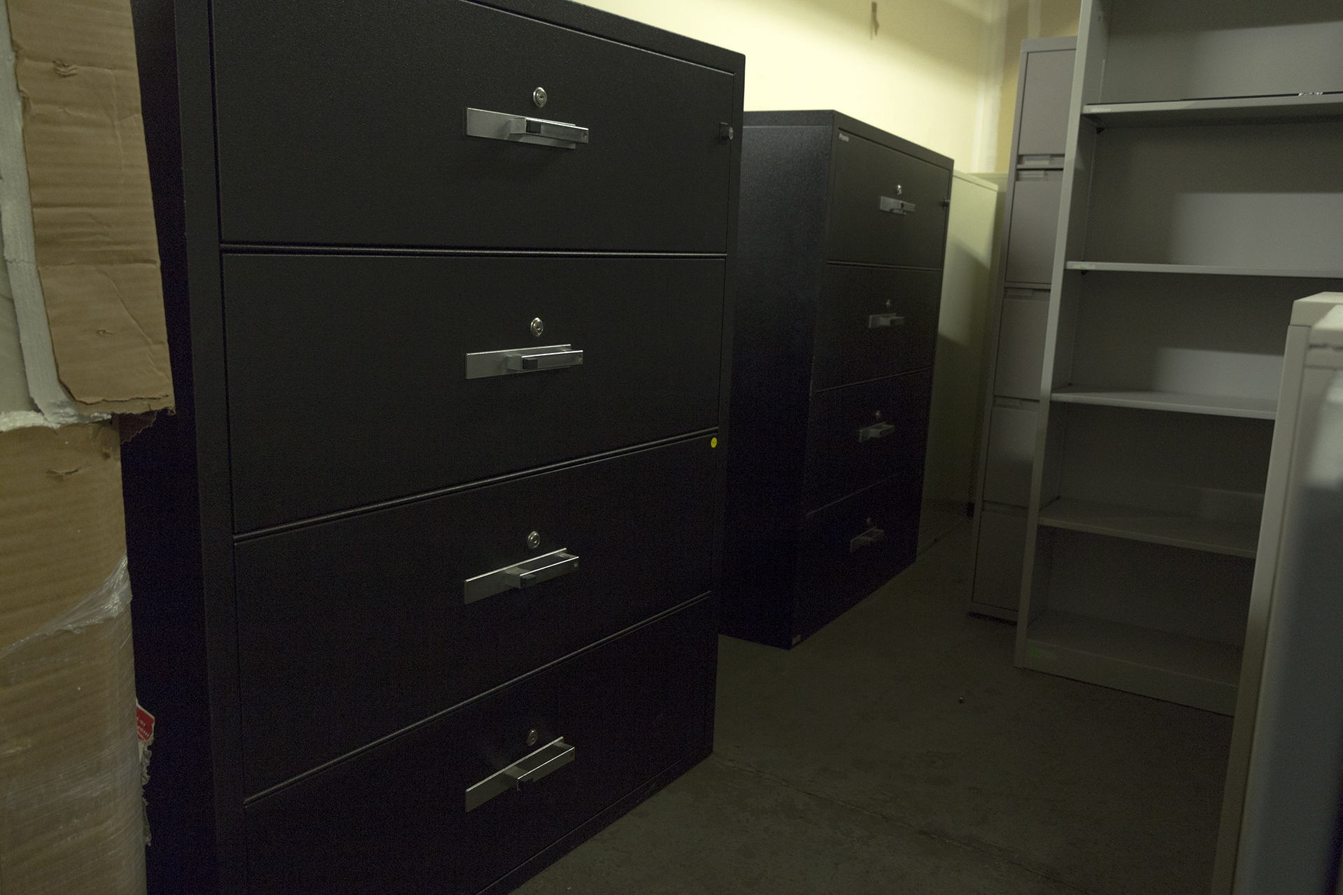 phoenix lat4w44 black fireproof 4 drawer lateral file