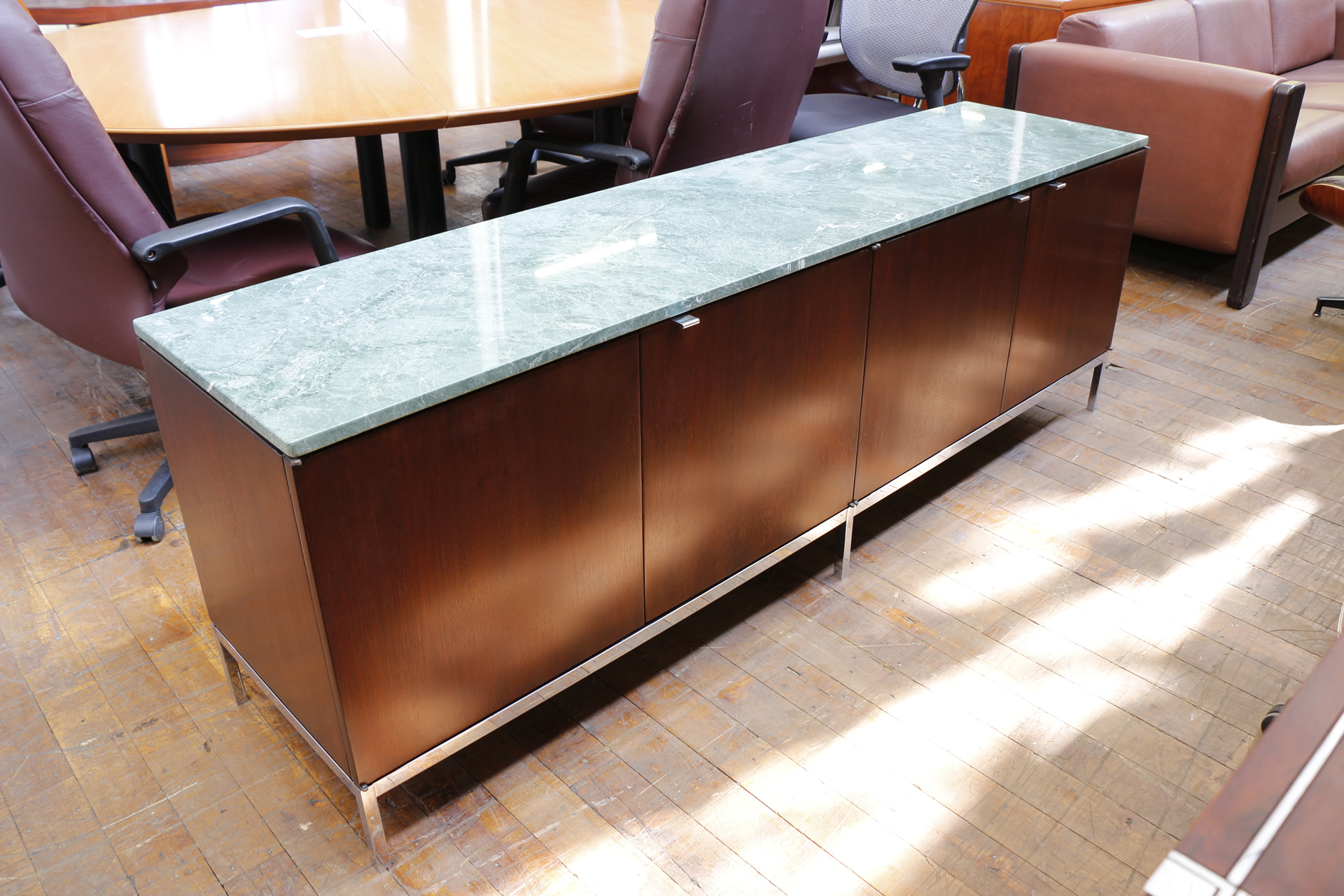 Marble Office Furniture ~ Florence knoll rosewood desk marble credenza set mid