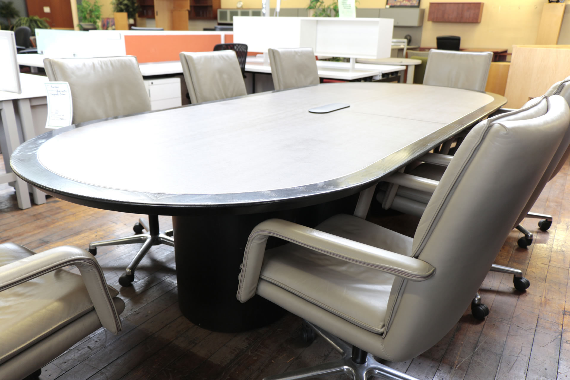 Wall Goldfinger Racetrack Leather Top Conference Tables in 4 Sizes