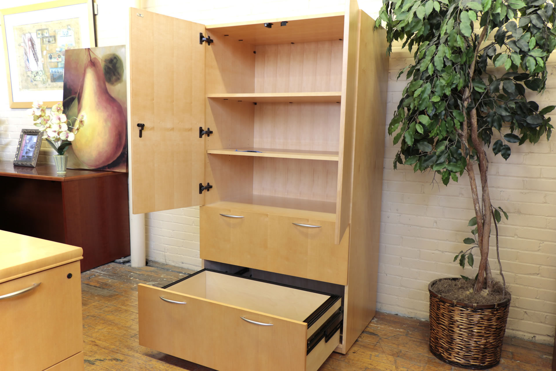 Kimball Bow-Front Honey Cherry L-Desk & Storage Cabinet Set