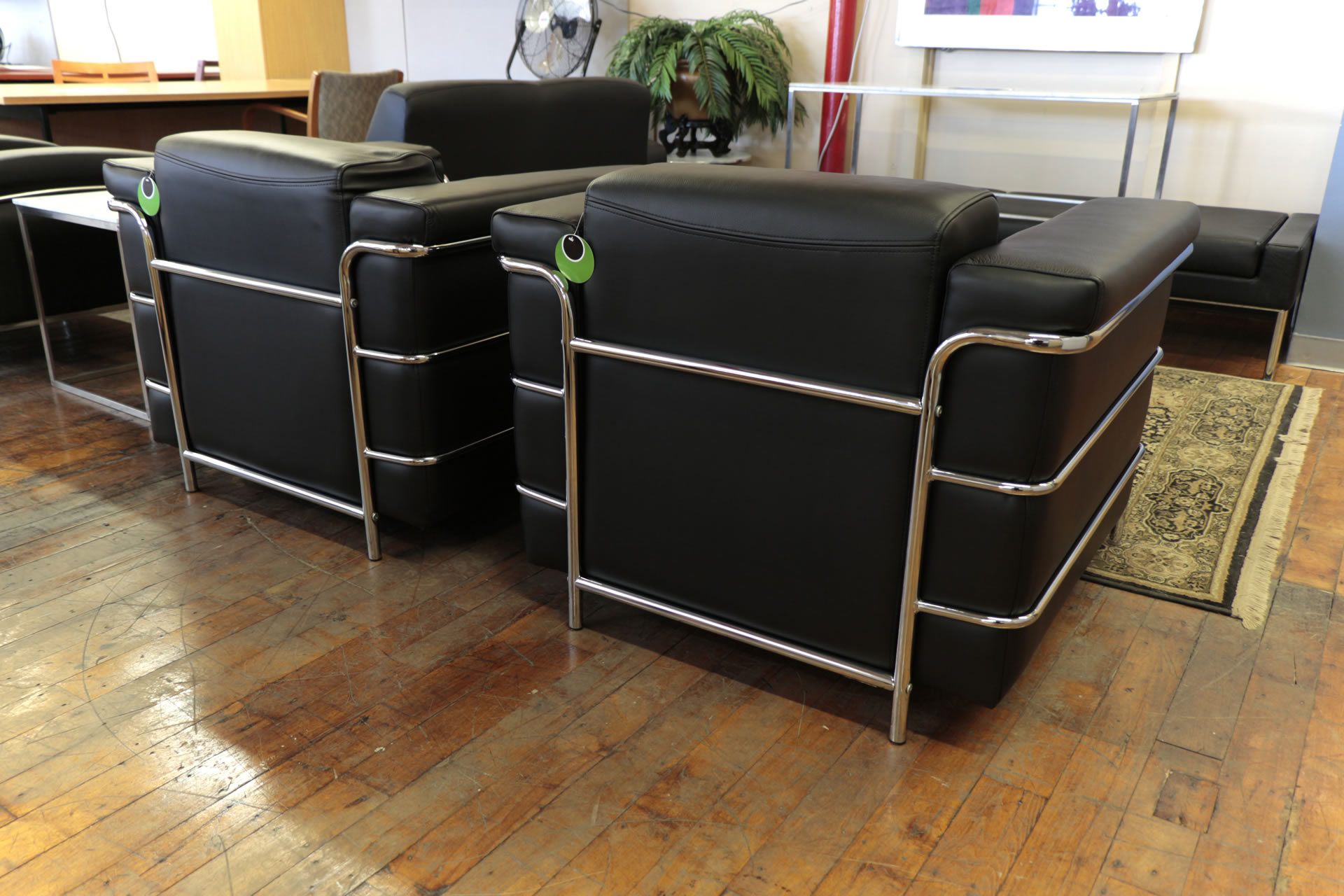 Compel Zia Black Leather & Chrome Arm Chairs
