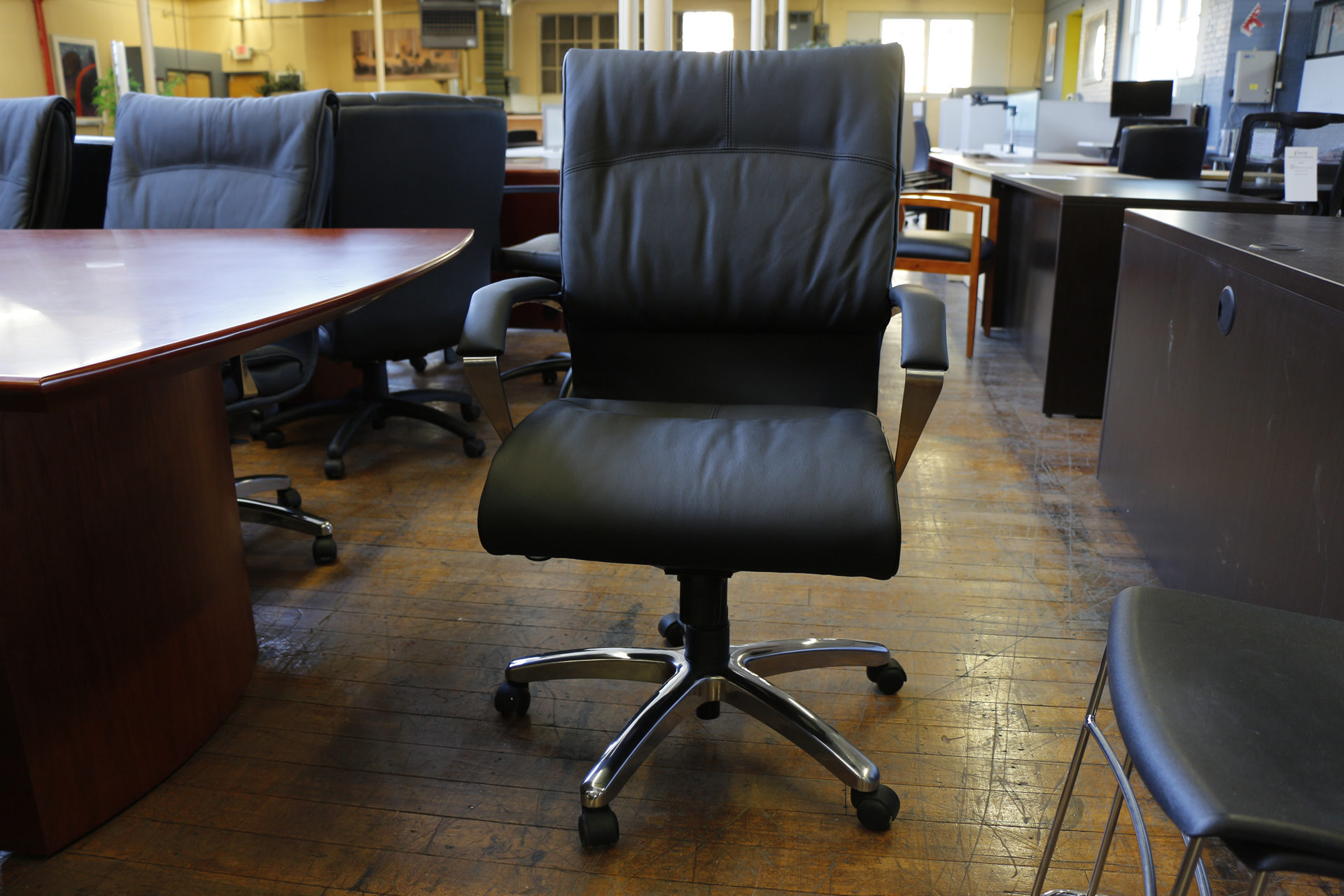 Black Leather & Chrome High-Back Executive Chairs