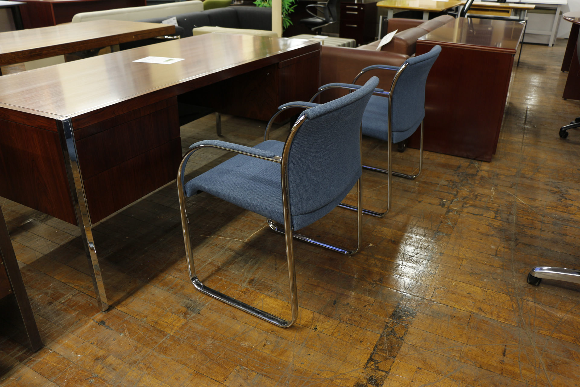Steelcase 'Snodgrass' Chrome Frame Side Chairs