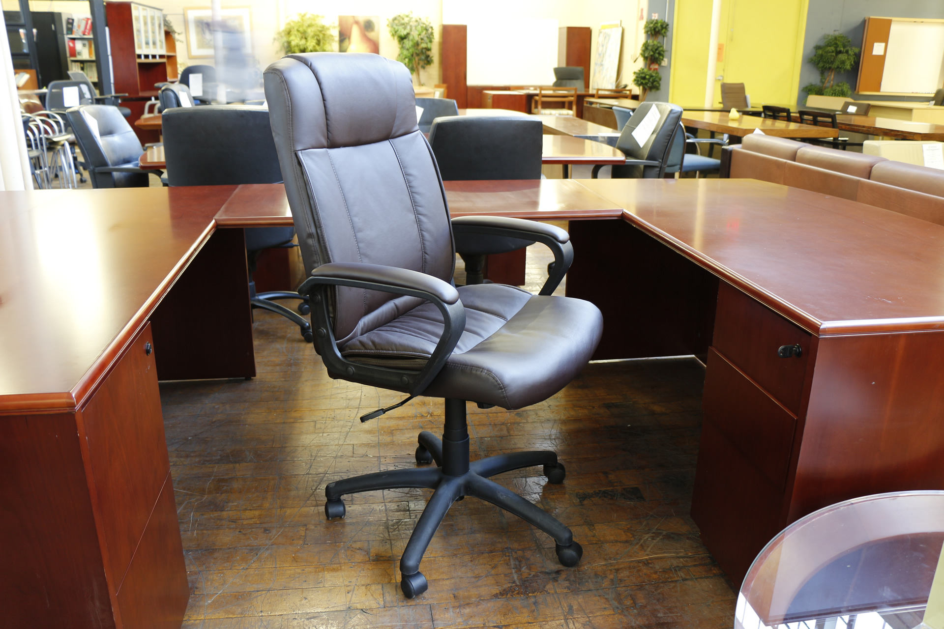 Brown Leather Hi Back Executive Chair Peartree Office